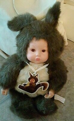 """Anne Geddes Easter Bunny Brown Baby Doll 15"""""""