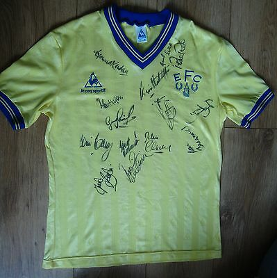 Everton Yellow Le Coq Sportif 1985/6 Multi Signed Player Issue Shirt