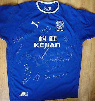 Everton Puma 2003/4 Multi Signed Legends Player Issue Shirt Harvey Kendall Ball