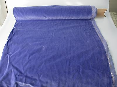 Vintage Velvet Fabric Remnant Germany Cotton 34 in W Periwinkle
