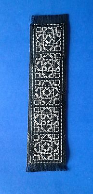 BOOKMARK - WHITE Design on BLACK - Completed Cross Stitch