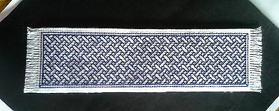 BOOKMARK - PURPLE Braid on WHITE - Completed Cross Stitch