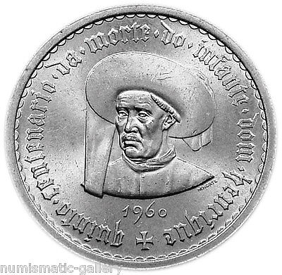 PORTUGAL 10 ESCUDOS 1960 Silver BU 500TH ANN.OF PRINCE HENRY THE NAVIGATOR