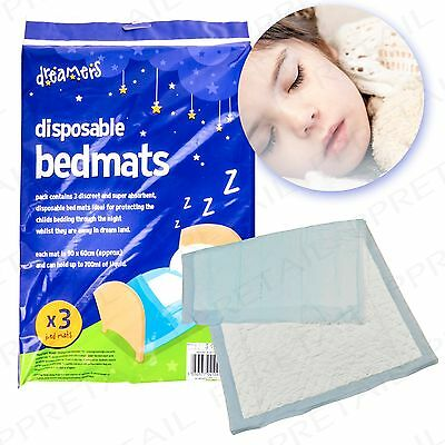 3Pc HIGHLY ABSORBENT DISPOSABLE BED MATS Protect Mattress Cot Wetting Pads Pack