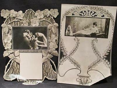 GIrl with Flowers & Beauty with Urn 2 Glossy Vintage Salesman's Calendar Samples