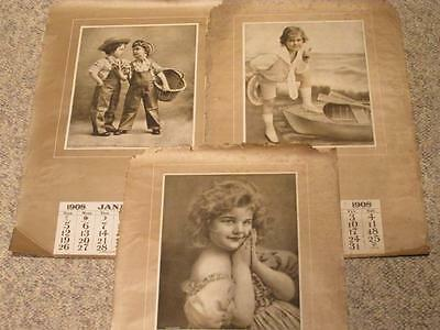 Mischief, Do You Know & Hustle! 3 Kids Themed Salesman's 1908 Calendar Samples