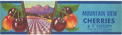 Cherry Crate Label Original Vintage 1940S Mountain View Wenatchee Washington