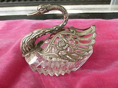 Large Vintage German 835 Silver And Crystal Swan Salt