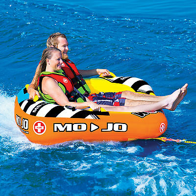 Wow Mojo 2 Person Towable Ski Tube Inflatable Biscuit Boat Ride