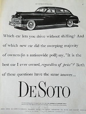1948 DeSoto Car Lets You Drive Without Shifting Original Ad