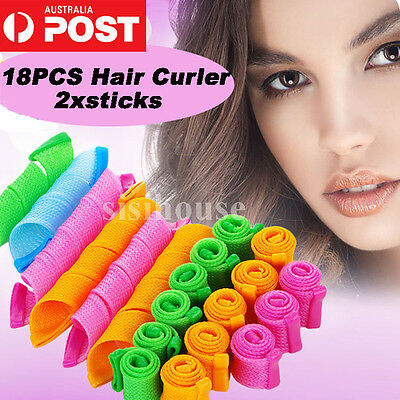 18PCS Stretchy DIY Magic Hair Curlers Leverage Formers Spiral Rollers Styling AU