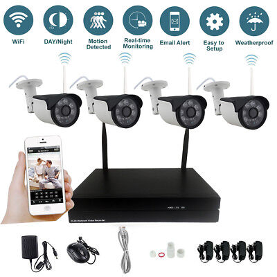 4CH Wireless Wifi NVR Kit Security System HD 1080P 2.0MP IP Camera Outdoor CCTV