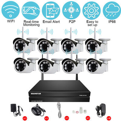 AU8CH Wireless Wifi NVR Kit Security System HD 960P 1.3MP IP Camera Outdoor CCTV