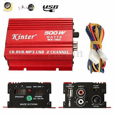 Kinter 12V 2CH HiFi Mini Amplificateur Stéréo Audio Voiture Haut-Parleur MP3 USB