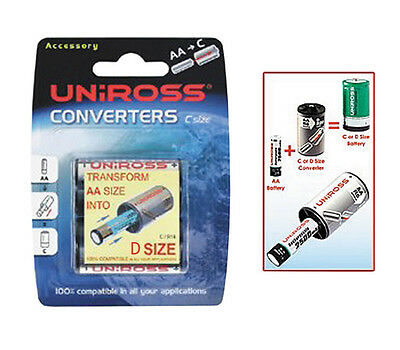 Uniross Battery Converter 2 AA  Batteries to a D Size Battery