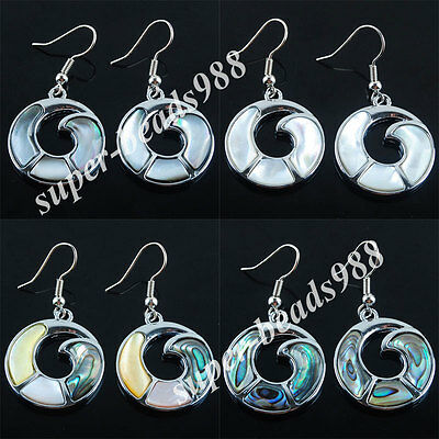 Free Shipping New Zealand Abalone Shell Round Beads Dangle Earrings Pair SBR053
