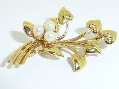 Preowned 9Ct Gold Floral Pearl Brooch, With Heart Leafs