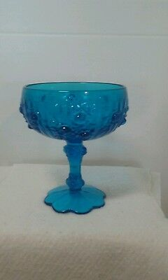 """Fenton 6"""" Tall Blue Cabbage Rose Footed  Candy Dish"""