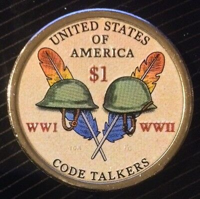 Colorized 2016 Native American Code Talkers Dollar (Reverse Only)