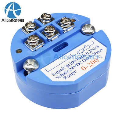 RTD PT100 Temperature Sensors Transmitter 0 to 200° DC 24V Blue