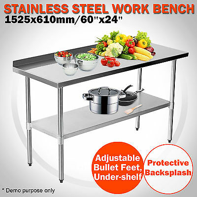 Commercial 1524 x 610mm Kitchen Top Food Stainless Steel Work Bench Splash 5x2FT