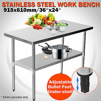 "36""x24"" Stainless Steel Commercial Catering Work Bench Kitchen Table 3FTx2FT"