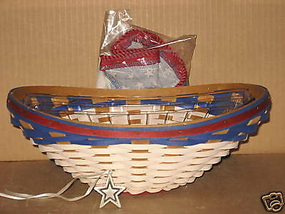 Longaberger American Celebrations Swoop Basket with liner protector tieon MINT!