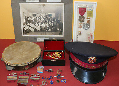 Antique/early 1900's Salvation Army lot/collection w/pins,hat,photo,instrument