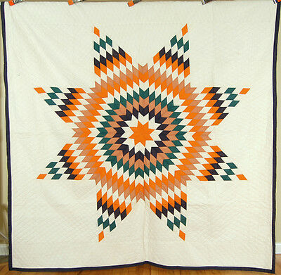 Large VIBRANT 1870's Lone Star Patchwork Antique Quilt ~NICE QUILTING!
