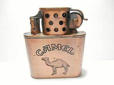 Retro Camel Cigarettes Copper Trench Type Fluid Advertising Lighter - Works