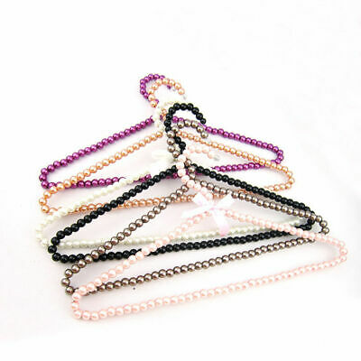 4-Color Plastic Fashion Pearl Bow Clothes Coat Trouser Hanger Holder For Adults