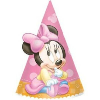 Minnie Mouse Baby 1st Birthday Party Disney Cone Party Hats 8 ct