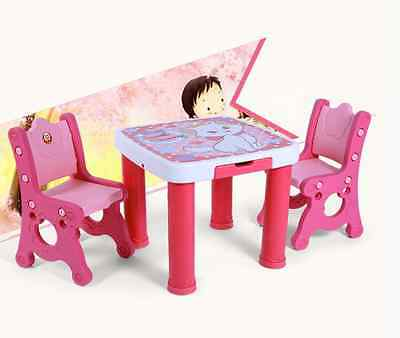 New 3Pcs Children Todder Study Drawing 1 Table 2 Chairs with 2 Drawers Pink/Blue