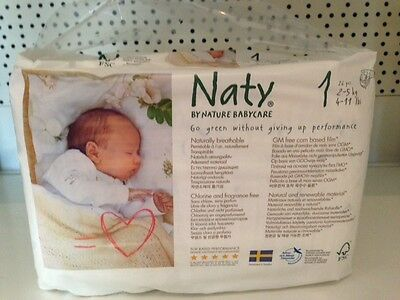 Naty by Nature care  ECO NAPPIES  BOX OF 4 PACKS OF 26  =104 NEWBORN size 1 2-5k