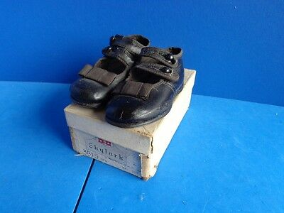 Antique Black Leather Child Shoes- Shoe Button Closure