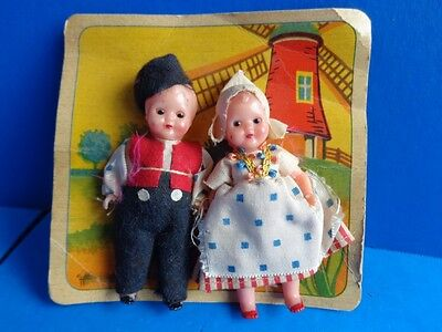 Vintage Pair Of Small Hard Plastic Italian Dolls Dressed In Dutch Costumes