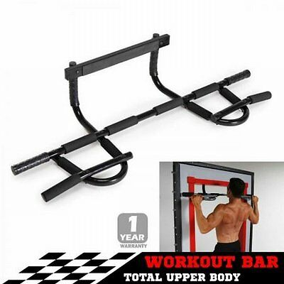 NEW Portable Fitness Chin Up Workout Bar Door Pull Up Exercise Equipment Black