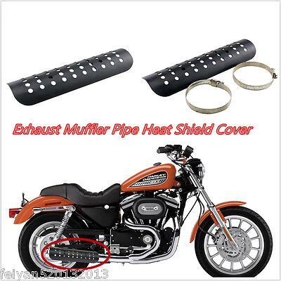 "Black 9"" Exhaust Muffler Pipe Heat Shield Cover Heel Guard For Harley Motorcycle"