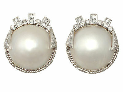 Mabe Pearl & 0.78ct Diamond, 9ct White Gold Earrings - Art Deco Style - Vintage