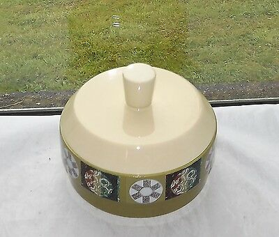 Vintage Retro Carlton Ware Tapestry Pattern Round Lidded Butter Dish Green