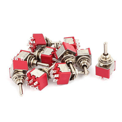 10 Pcs 250VAC 2A 125VAC 5A 6 Terminals DPDT ON/OFF/ON Momentary Toggle Switch