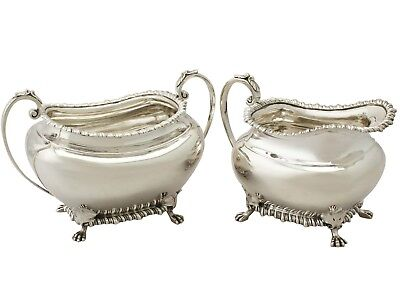 Sterling Silver Cream Jug and Sugar Bowl - Antique Edwardian