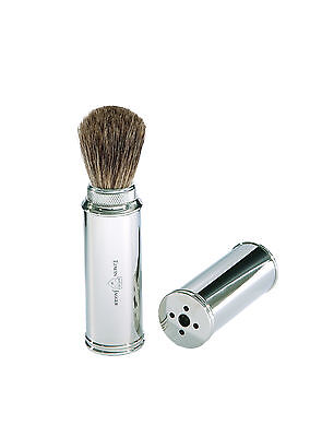 Edwin Jagger Pure Badger Travel Shaving Brush Nickel Plated  and Case