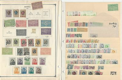 Serbia, Old Lot on Four Pages, Nice Selection to Pick Through