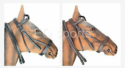 FREE P&P High Quality Plain Leather Hunter/Hunting Bridle Black & Brown 4 Sizes!