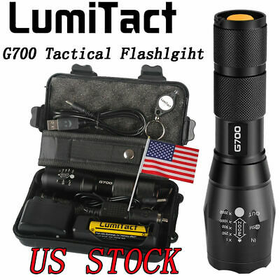 20000lm Genuine Lumitact G700 LED Tactical Flashlight Military Torch 2xBatteries