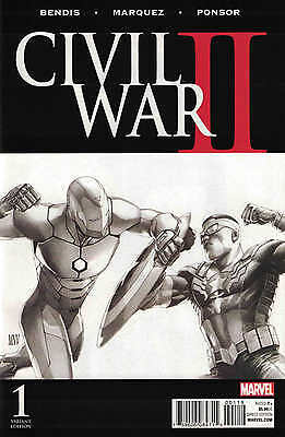 Civil War II #1 1:200 Steve McNiven Sketch Variant Marvel 2016 ANAD