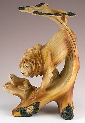 Lions Carved Wood Look Figurine Resin 7 Inch High New In Box