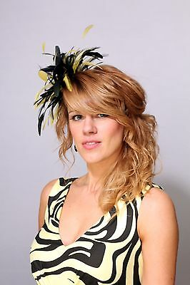 Black & Yellow Fascinator hat/choose any colour satin/feather