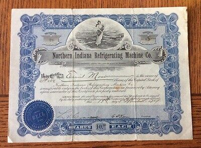 Rare 1914 Northern Indiana Refrigerating Machine - Uncancelled Stock Certificate